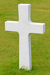 Marble Cross of fallen Soldier, American War Cemetery near Omaha