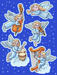 Christmas Set of angels with musical instruments