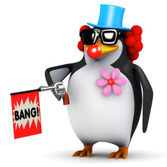 3d Penguin clown with a silly fake gun.