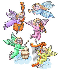 Colorful Set of Angels with Musical Instruments