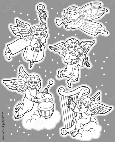 Black and White Set of Angels with Musical Instruments