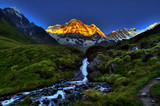 Fototapete Wasserfall - Fluß - Hochgebirge