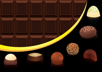 Mix of chocolate candies on chocolate seamless background