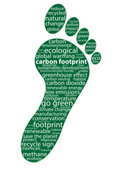 """CARBON FOOTPRINT"" Tag Cloud (go green ecology neutral dioxide)"