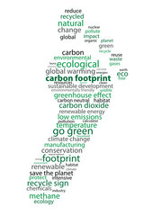 CARBON FOOTPRINT Tag Cloud (go green emissions neutral dioxide)