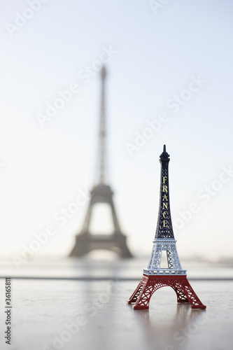 Replica of Eiffel Tower with original one in the background, Paris, Ile-de-France, France