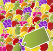 Background of fruit icons labels