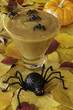 Halloween pudding with spiders