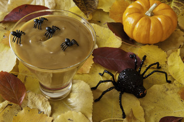 Spiders with Halloween Pudding