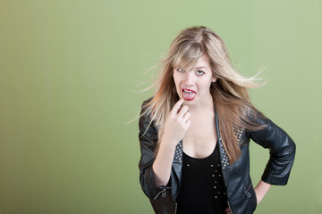 Woman Gestures She Needs To Throwup