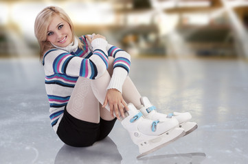 young gorgeous girl with skates