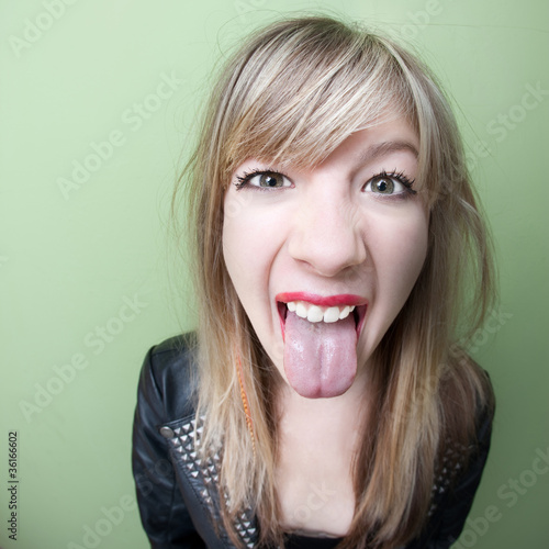 Woman Sticks Her Tongue Out