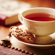 Cup of tea and chocolate chip cookies