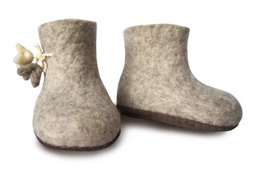 Felt soft gray boot, valenki isolated