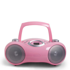Pink stereo CD mp3 radio cassette recorder isolated on white