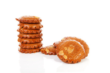 Pile of typical Dutch filled gingerbread cookies