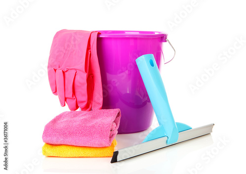 window cleaning equipment over white background