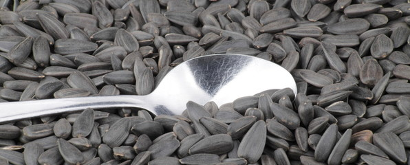 sunflower seeds background and one teaspoon