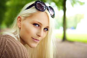 Blonde Lady With Sunglasses