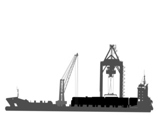 silhouette of ship in port on unloading under the crane