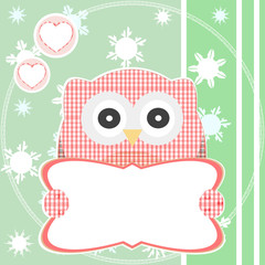 cute red owl holding empty blank vector sign