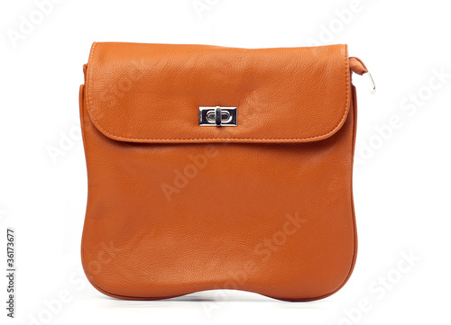 Orange women messenger bag isolated over white