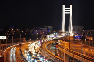 Night traffic on Basarab bridge, Bucharest, Romania