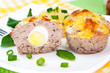 Meat cupcakes stuffed with quail eggs