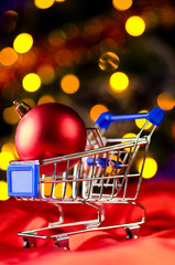 shopping cart with decorative ball