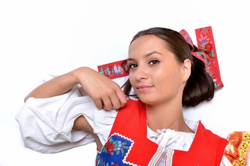 Attractive woman wears Slovakian national dress