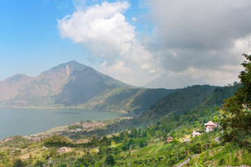 Mountain Agung and volcanic lake at bottom.Bali.Indonesia