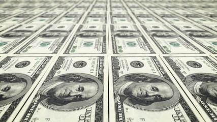 Printing dollar bill money. Loop