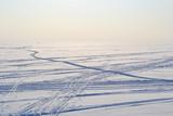 Ski tracks on frozen Gulf of Finland.