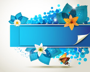 Banner design with leaf, flowers and butterflies