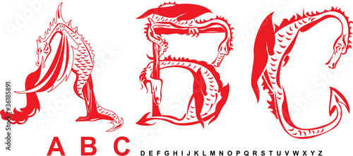 Series of dragons alphabet, letters ABC