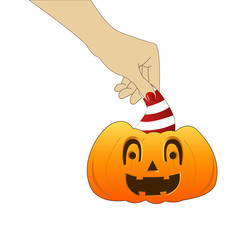 Hand with pumpkin