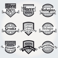 Set spanish high Quality sales free Labels with retro design