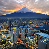 Surreal view of Yokohama city and Mt Fuji