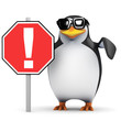3d Penguin holding Exclamation Sign