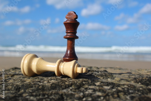 Chess mate, with sky background near the sea