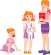 cartoon of growing girls