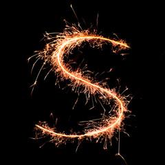 Letter S. Real sparkler alphabet