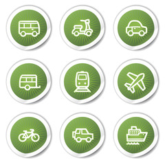 Transport web icons, green  stickers