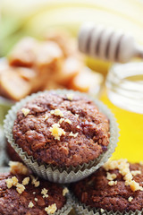 muffins with banana and toffee