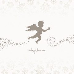 Flying Christmas Angel Holding Star Taupe