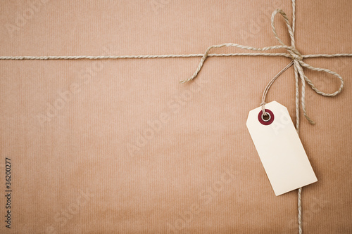 brown paper parcel with copy space - 36200277