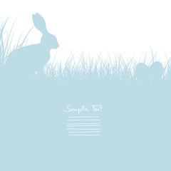 Easter Card Bunny Sitting In The Meadow & Eggs Blue