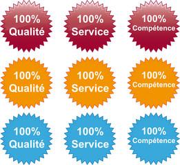 100% Qualité Service Compétence Button