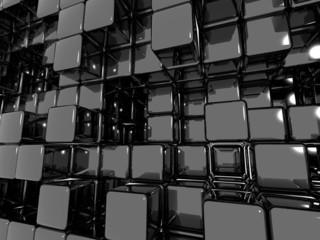 Black Abstract Cube Background