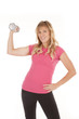 woman hold up weight pink